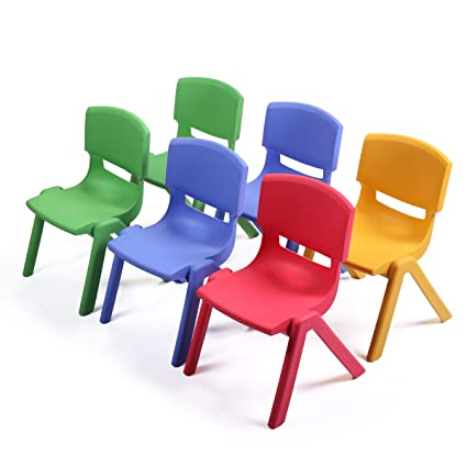 JAXPETY Stackable Kids Plastic School Chair Set of 6 Play and Learn  Furniture Colorful