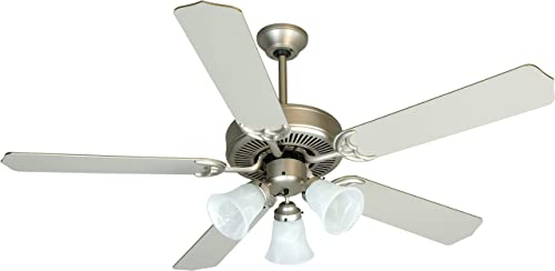 Craftmade K10422 Pro Builder 205 52 Ceiling Fan with Lights and Pull Chain, 5 Blades, Brushed Satin Nickel