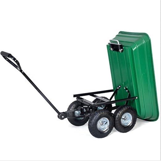 Phumon567 650LB Green Garden Cart Dump Wagon Trailer Lawn Wheels Rolling  Storage Wagon Carrier Barrow Air Tires Heavy Duty
