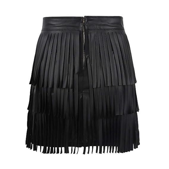 iixpin Mini Falda de Borla de Cuero PU con Flecos para Mujer ...