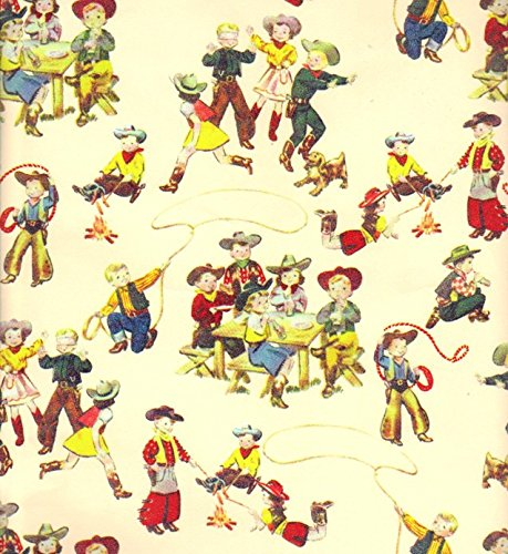(Acorn Spring Ranch Little Buckaroos Western Cowboy Heavy Gift Wrapping Paper -30 in x 25 ft Roll)