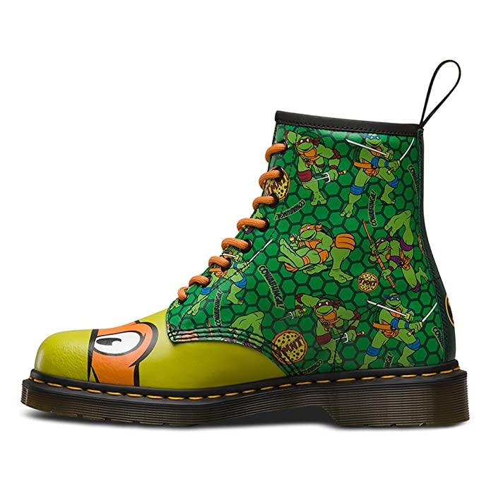 dr martens unisex tmnt mikey 8 eyelet leatther boot green multi