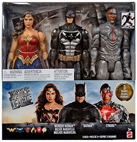 ctical suit Batman, Cyborg, and Wonder Woman are highly detailed 12