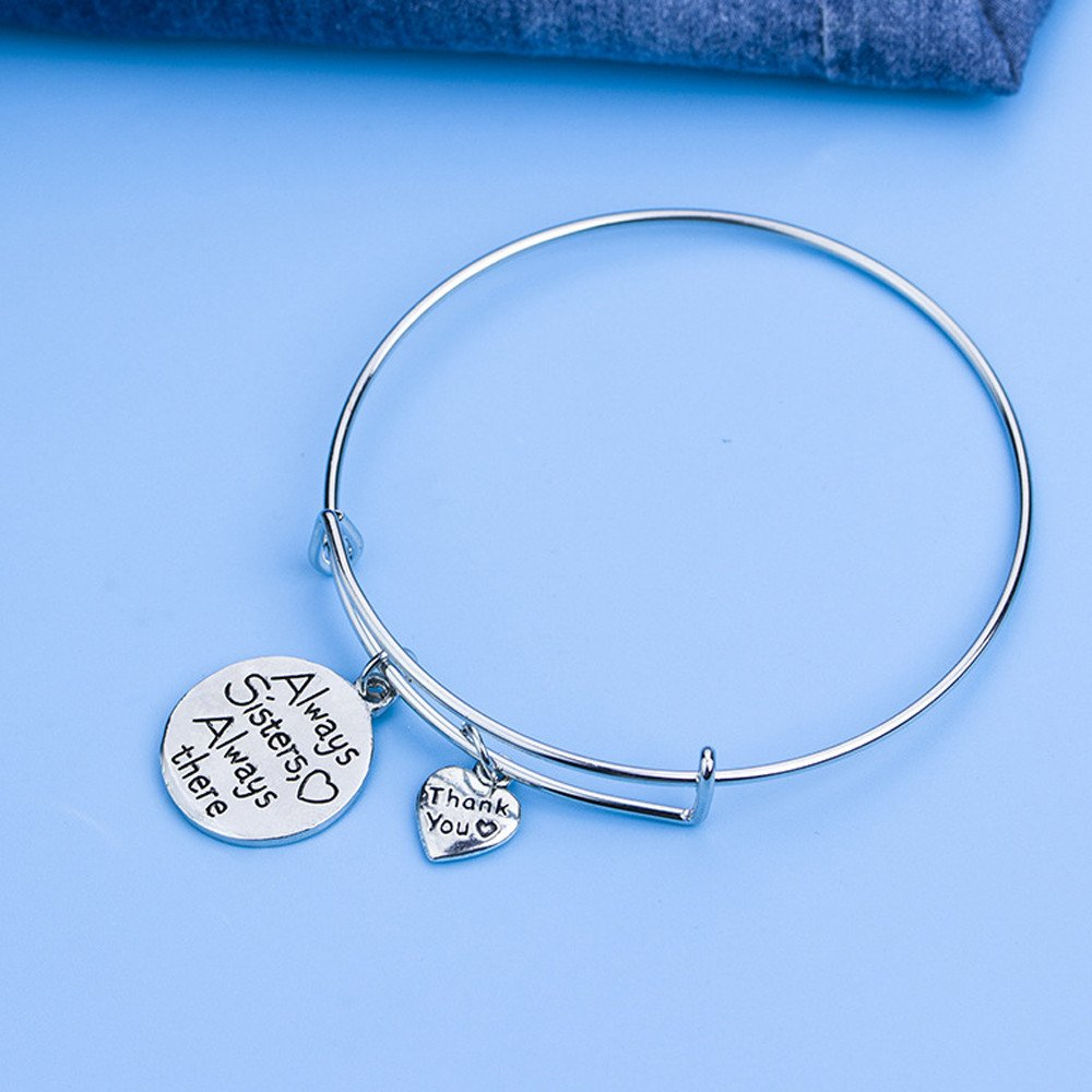 Molyveva Couple Girlfriend Sweet Bracelet Inspirational Bangle Always Sisters Always There Adjustable Round Bangle Bracelets