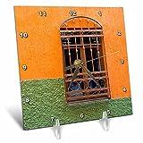 3dRose Danita Delimont - Architecture - Mexico, Guanajuato, Ornate window in a colorful back alley - 6x6 Desk Clock (dc_278308_1)