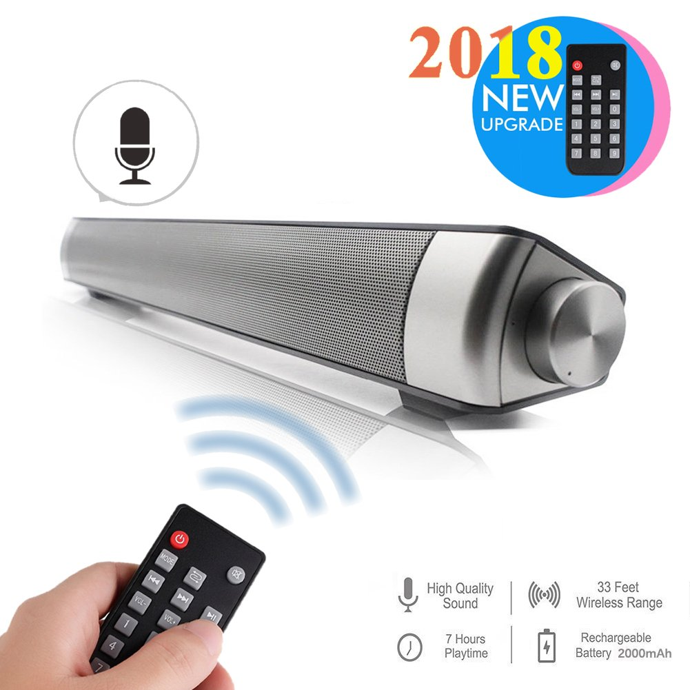 Multifunctional Sound Bar Speakers for TV/Tablet PC/Laptop/iPhone/iPad/Portable Audio Players, 2 Channel USB MP3 Player Bluetooth Wireless Sound Bar Speaker, with Remote Control thumbgeek