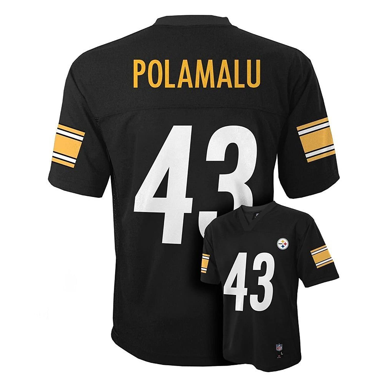 c5218f00 Troy Polamalu Pittsburgh Steelers NFL Kids Black Home Mid-Tier ...