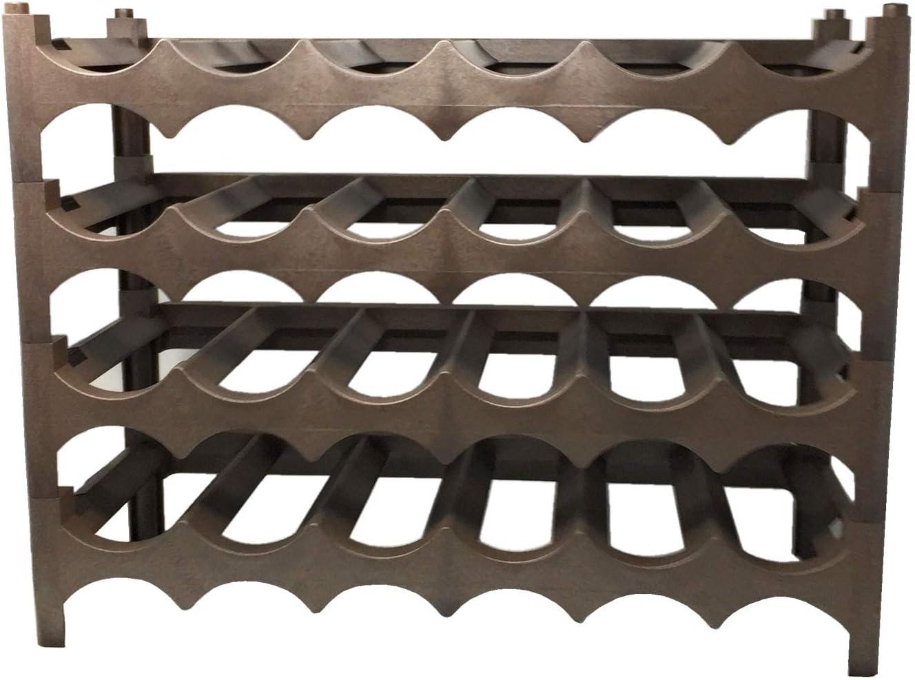 Fameplast Botellero de plástico apilable de 4 Capas 46 x 60 x 23 cm