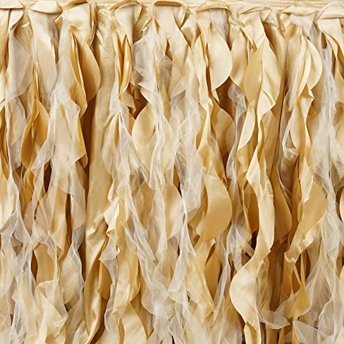 Efavormart 14ft Enchanting Curly Willow Taffeta Table Skirt for Kitchen Dining Catering Wedding Birthday Party Events - Champagne by Efavormart.com (Image #3)