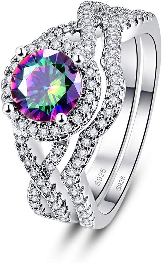 PAKULA 925 Sterling Silver Women Simulated Mystic Topaz Bridal Infinity Knot CZ Halo Wedding Band Ring 2 Sets