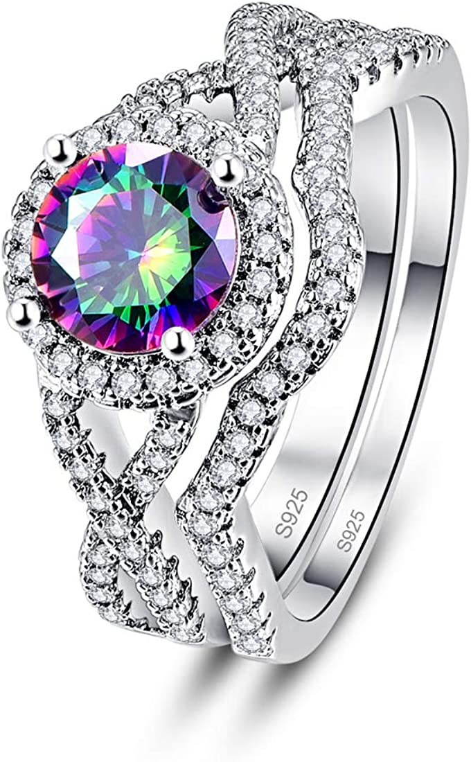 PAKULA 925 Sterling Silver Women Simulated Mystic Topaz Bridal Infinity Knot CZ Halo Wedding Band Rings 2 Sets