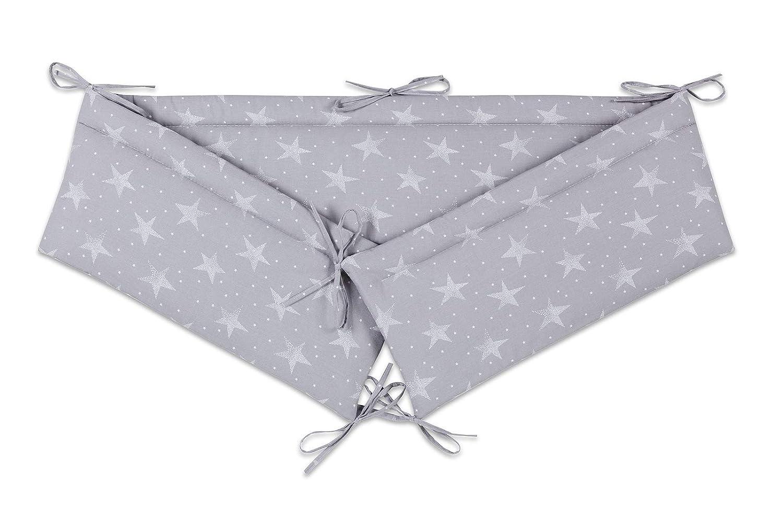 FabiMax 4579 Beistellbett BASIC natur inkl Matratze COMFORT und Nestchen wei/ße Sterne auf grau