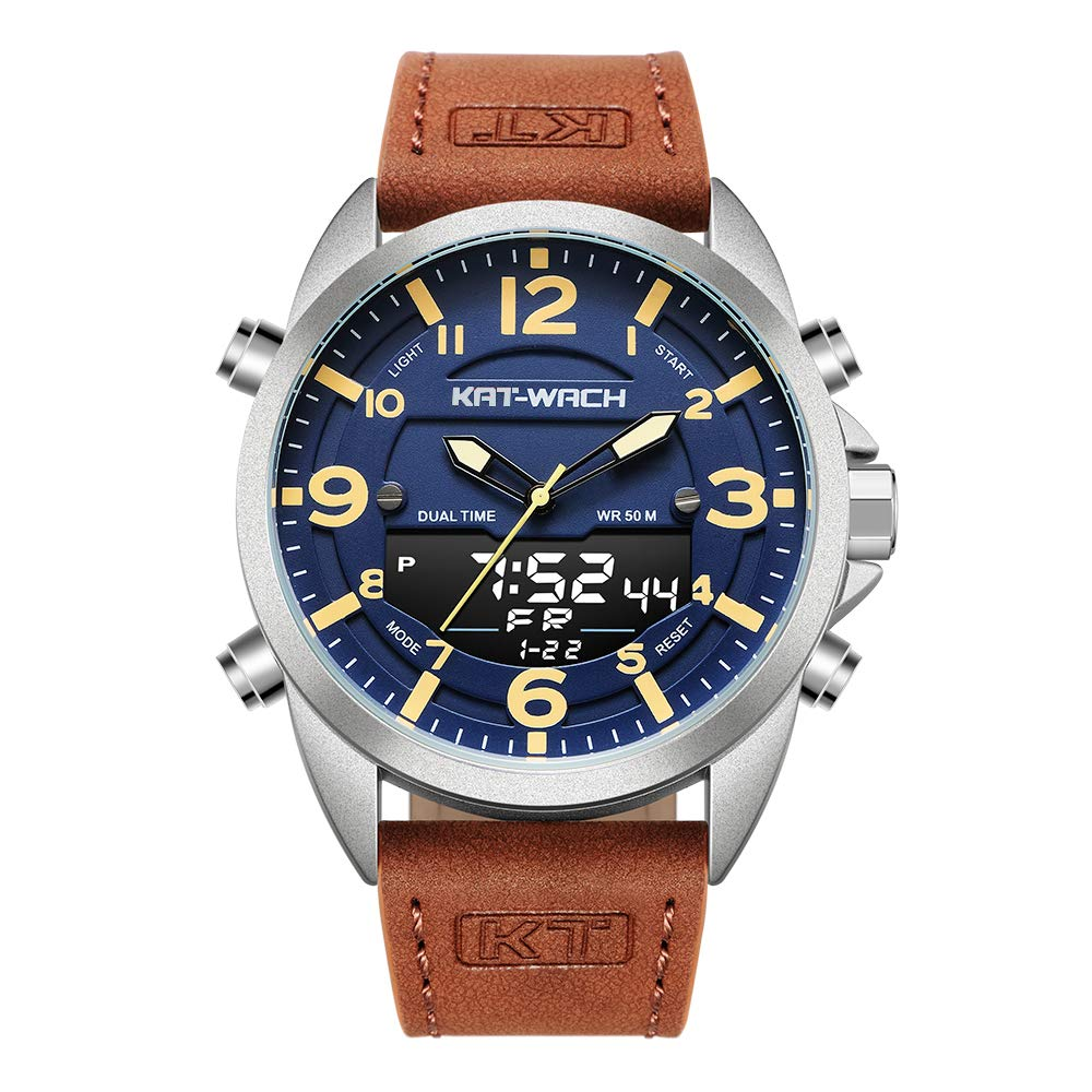 Big Face Digital Watches for Men, Fashion Men s Waterproof Military Watch Leather Strap LCD Monitor Backlight Dual Time