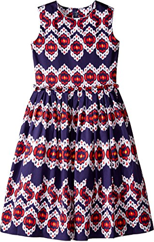 Oscar de la Renta Childrenswear Baby Girl's Ikat Cotton Gathered Skirt Party Dress (Toddler/Little Kids/Big Kids) Navy/Cherry Dress by Oscar de la Renta