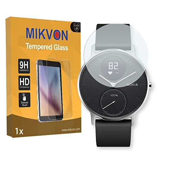 MIKVON 1x Flexible Tempered Glass 9H for Nokia Steel HR 40mm Glassfilms Screen Protector - Retail Package with Accessories