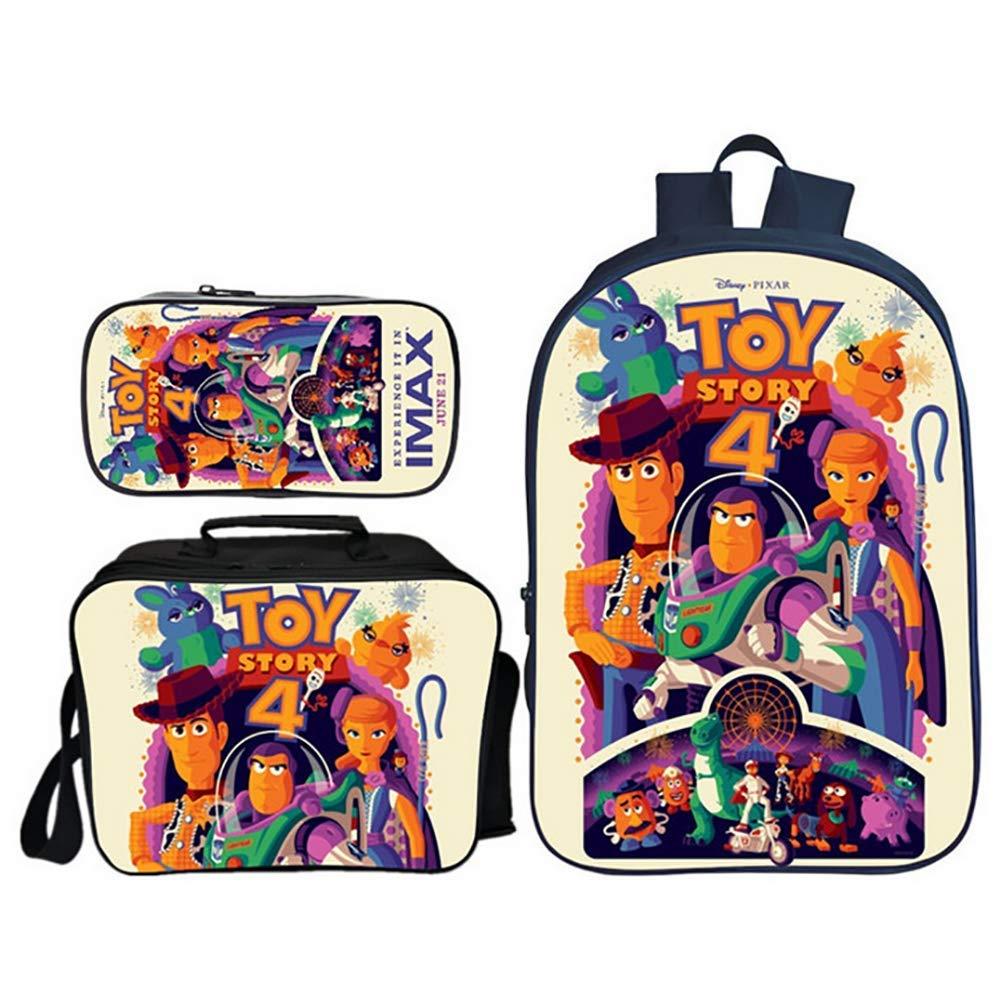 TREES Sac d/école Toy Story 4 Set de cartables Scolaires Sac /à Dos /étudiant Ensemble de 3 pi/èces Sacs /à Dos d/école avec Sac /à Lunch Isotherme et Trousse,e