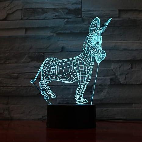 Animal burro 3D Led modelado luz de la noche cambio usb bebé ...