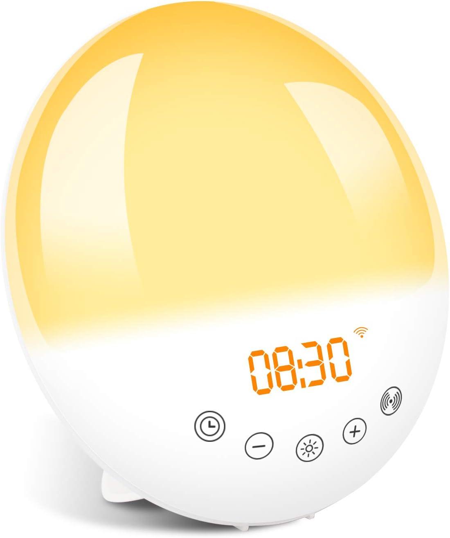目覚まし時計 WiFi 光 目覚ましライト Alexa/Google homeで制御 スマート時計 スヌーズ機能 ウェイクアップライト ベッドサイドランプ アラーム めざまし時計 FMラジオ 間接照明 デジタル時計