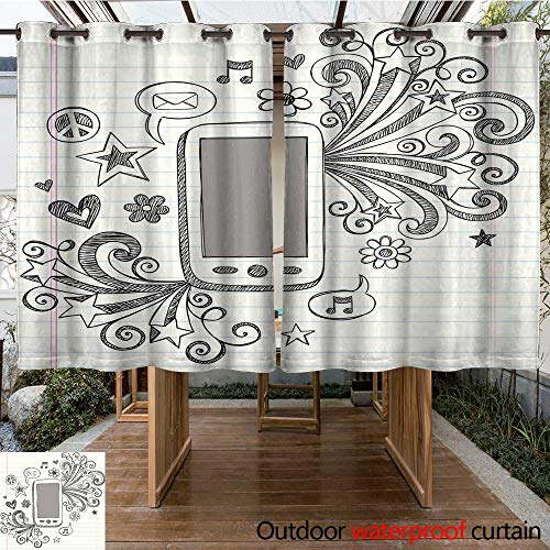 RenteriaDecor Outdoor Curtains for Patio Sheer Mobile Cell Phone PDA Sketchy Doodle Vector Design W63 x L72 -