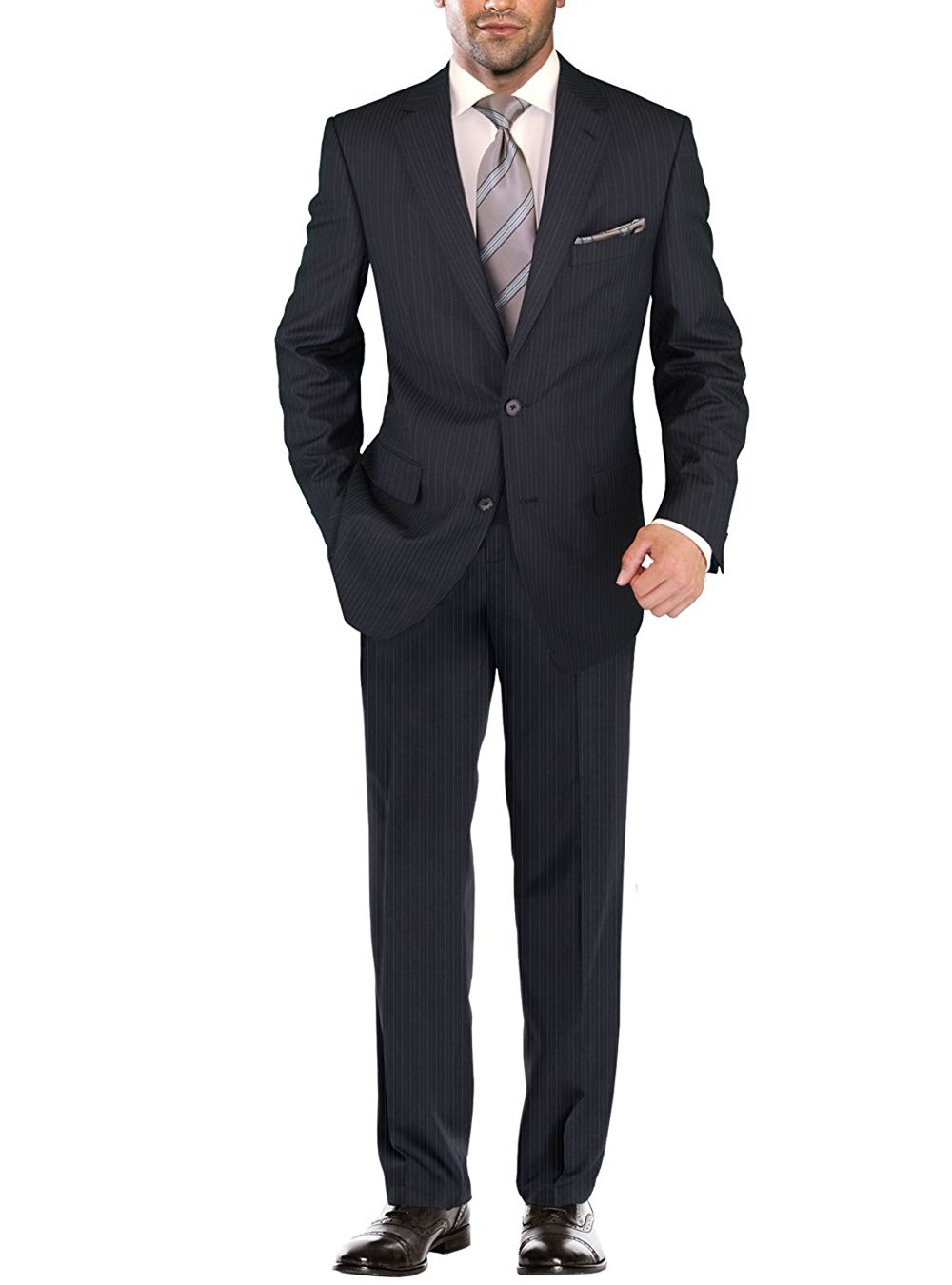 Salvatore Exte Men's Modern Two Button Jacket Flat Front Pants Striped Suit (44 Regular US / 54R EU / W 38'', Dark Navy)