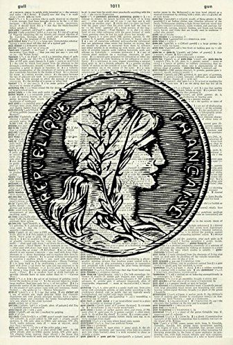 REPUBLIQUE FRANCAISE ART PRINT - ANCIENT FRENCH COIN ART PRINT - MONEY - ARTWORK - GIFT - Vintage Art Print - Illustration - Picture - Vintage Dictionary Art Print - Wall Hanging - Book Print 285D