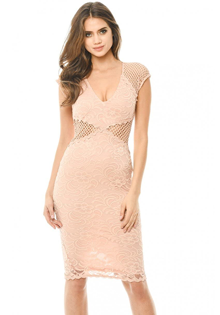 AX Paris Women s V Neck Mesh Lace Bodycon Midi Dress at Amazon Women s  Clothing store  8afcdb98f