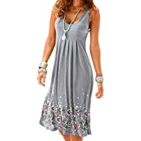 6d586abd0d49 Womens Ladies Casual O-Neck Print Sleeveless Midi Dress Summer Loose Ruched  Club Party Camis