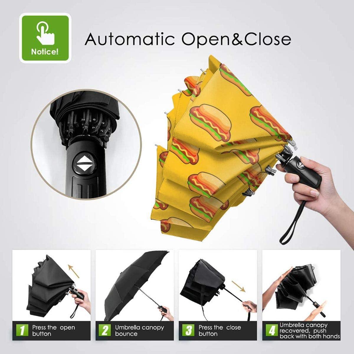 Hotdog Seamless Pattern Automatic Tri-Fold Umbrella Parasol Sun Umbrella Sunshade