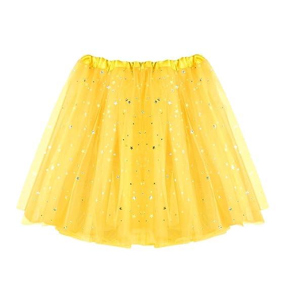 QinMM Falda Corta de Plisada de Mujer Falda de Baile de Estrella ...
