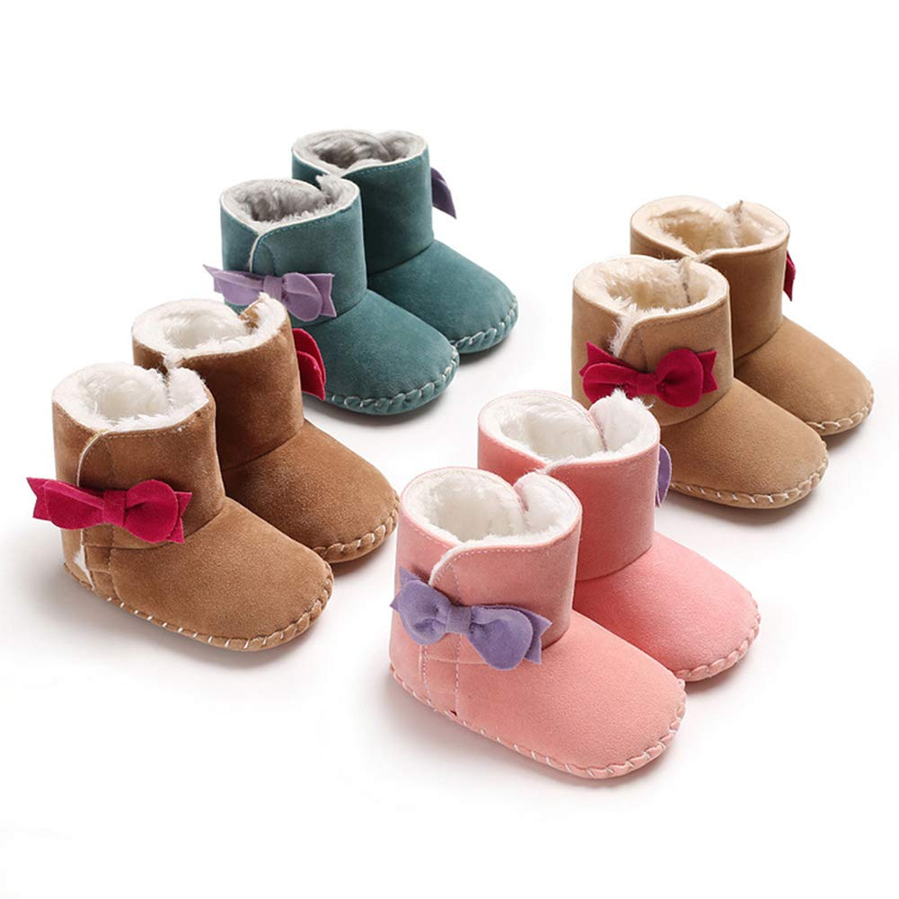 Green 13cm Alamana Fashion Bowknot Warm Newborn Baby Infant Soft Anti-Slip Prewalker Toddler Shoes