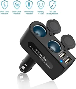 Rocketek 2-Socket Car Splitter Cigarette Lighter Adapter 12/24V 120W with 3.1A 2 USB Car Charger Adapter for iPhone/ipad/Android Cell Phone/Tablet, GPS