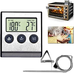 KKAAyueqin Meat Thermometer, Professional Instant Read Grill Thermometers Stainless Steel Temperature Probe for Smoker BBQ Kitchen Oven, Large LCD Digital Cooking Food Clock Timer, Silver