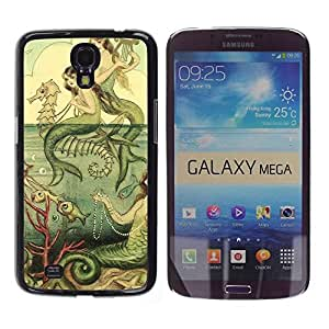 Be Good Phone Accessory // Dura Cáscara cubierta Protectora Caso Carcasa Funda de Protección para Samsung Galaxy Mega 6.3 I9200 SGH-i527 // Green Sea Horse Vintage Painting