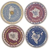 Set of Four Catholic Passport Stamp Sandstone Absorbent Coasters 4.25'' Diameter Cork Back Exclusive