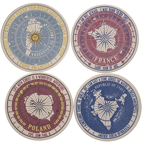 Set of Four Catholic Passport Stamp Sandstone Absorbent Coasters 4.25'' Diameter Cork Back Exclusive by The Catholic Company