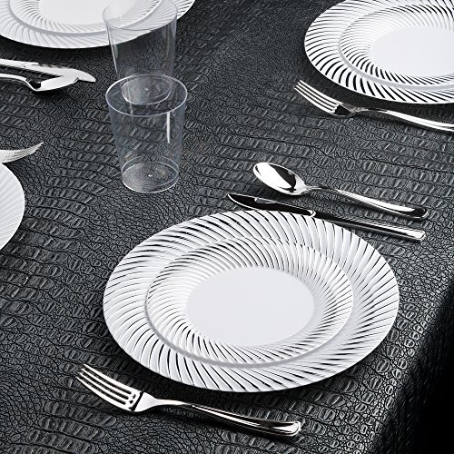 Kaya Collection - Swirl Silver Disposable Plastic Dinnerware Party Package - 20 Person Package - Includes Dinner Plates, Salad/Dessert Plates, Silver Cutlery and Tumblers - Swirl Salad Plate Set