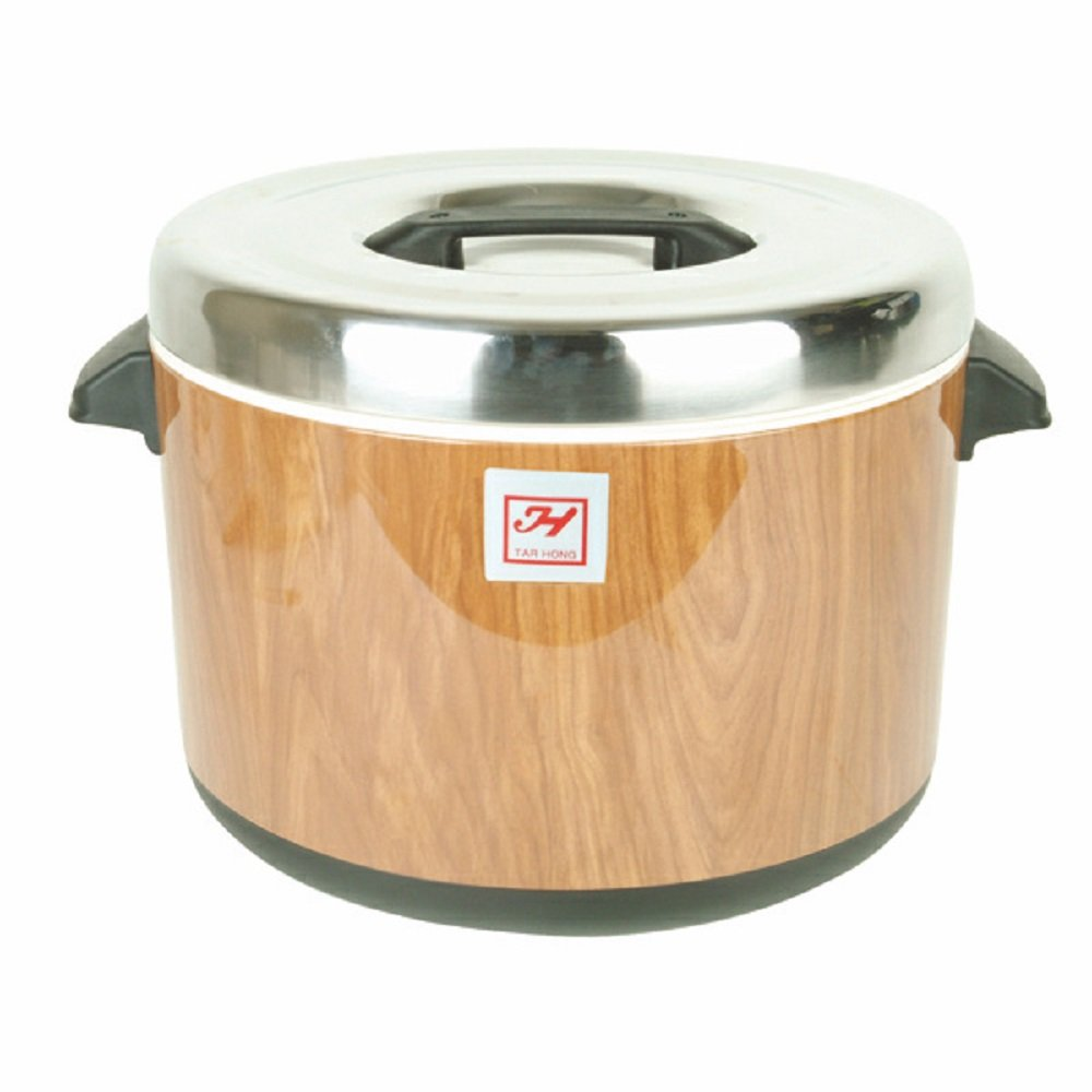 Insulated Sushi Rice Pots wood grain finish keeps sushi rice moist NSF stainless steel top cover & lining restaurant asian cookware (40 cups) by AmGood (Image #2)