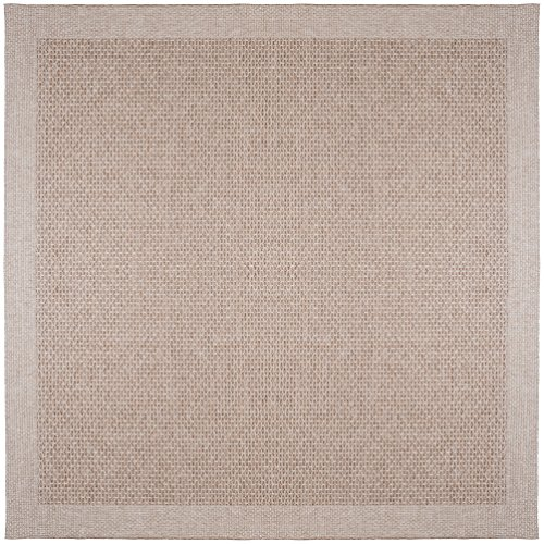 Brown Largo Furniture - Universal Rugs Largo Modern Solid Taupe Square Easy-Care Indoor/Outdoor Area Rug, 7' Square