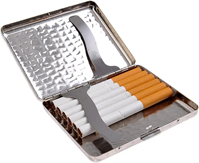 Pitillera de Acero Inoxidable Elegante dise/ño de Arcos para 16 cigarros 320-01
