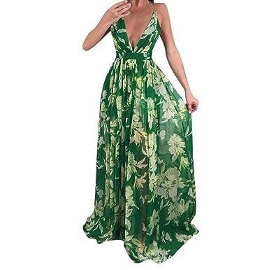 Vestido Largo para Mujer,Toamen Vestido De Noche Estampado Floral con Cuello En V Sin