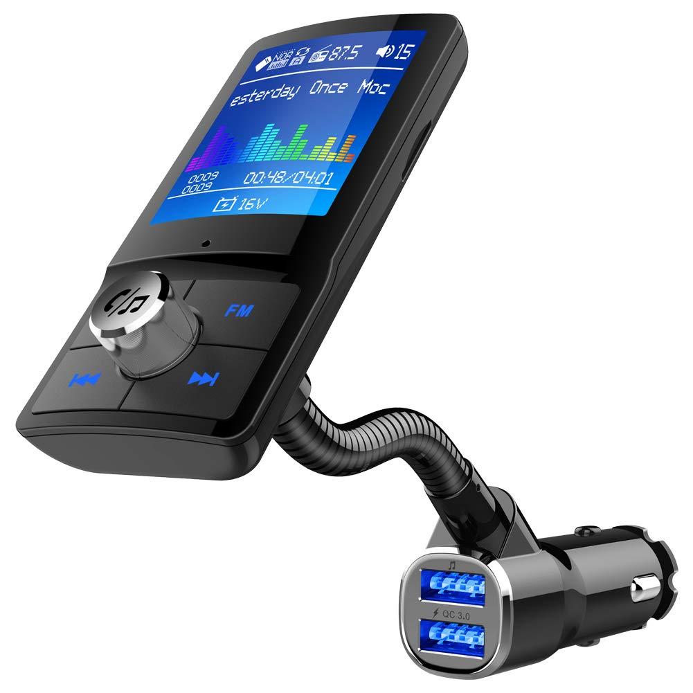 1.8インチ カラー Bluetooth FMトランスミッター ワイヤレスラジオ送信機アダプターレシーバー ハンズフリーカーキット QC 3.0とバッテリー電圧読み取り USBディスク対応 TFカード AUX対応   B07PCMQ7QN