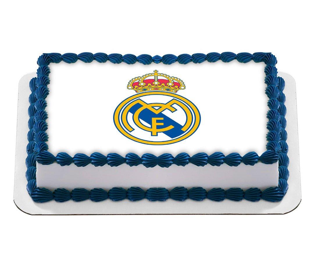 Real Madrid Football Club Logo Edible Cake Image Birthday Cake
