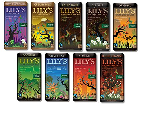 (Lily's Chocolate Sampler 9 Pack (1 of each),(Original, Coconut, Crispy Rice,Almond, Creamy Milk,Salted Almond& Milk,Extra Dark,Blood Orange, Sea Salt))