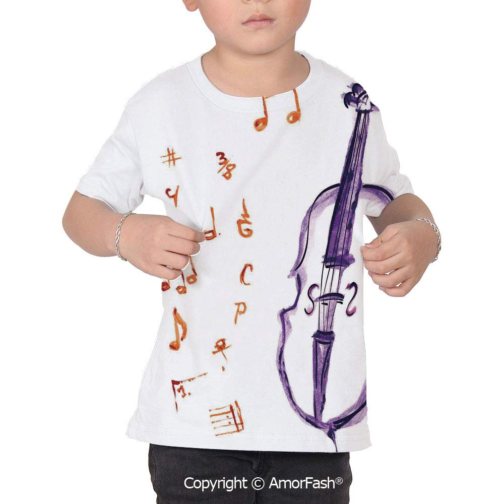 Music Decor Crew Neck for Ultimate Comfort T-Shirt,Musical Notes in