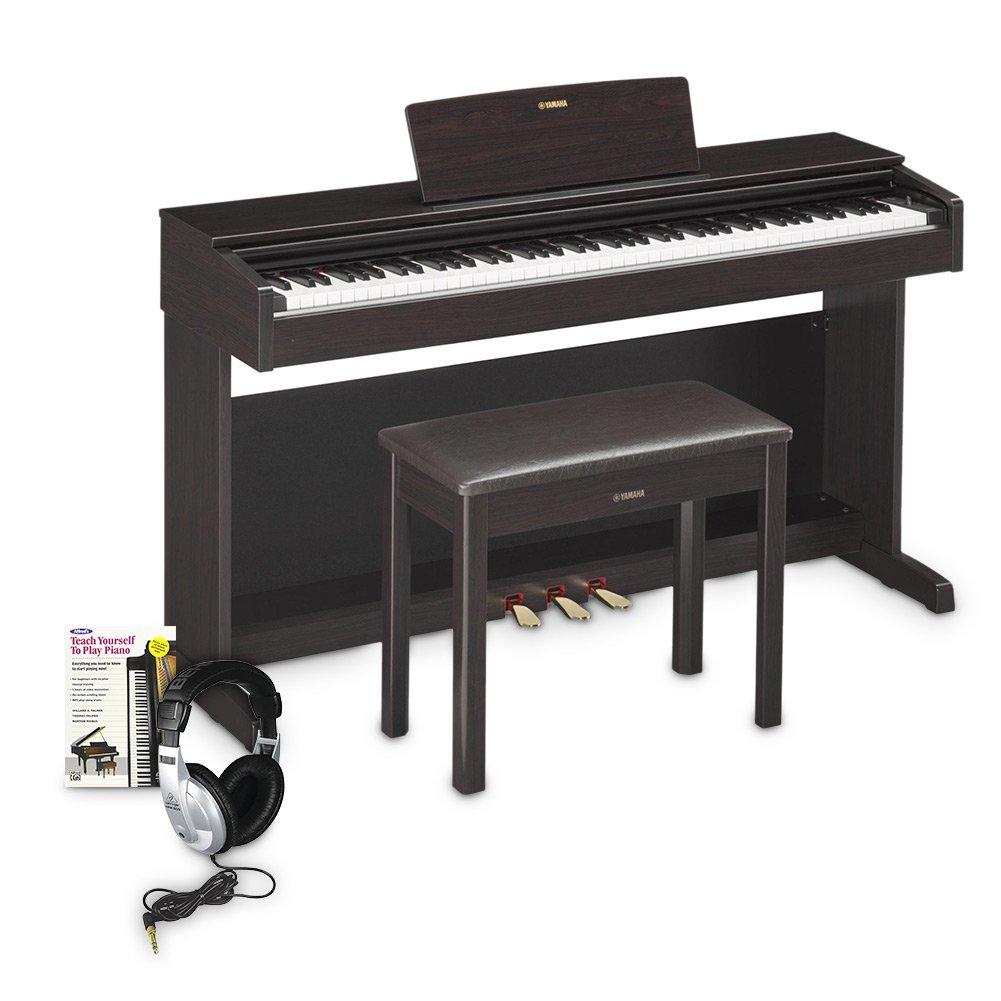 Yamaha YDP143 Arius Console Digital Piano Education Bundle, Black Walnet with Headphones