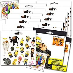 Despicable Me 3 Stickers Party Favors - Bundle of 12 Sheets 240+ Stickers plus 2 Specialty Stickers!