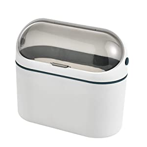 ERGOU Skinny Sleek Stylish Trash Bin Wall-Mounted Bathroom Kitchen Coffee Table Table Basket with Lid Storage Bucket Small Mini Desktop Trash Can Garbage Can Wastebasket for at Home or Office
