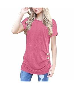 Blusa con Botones Flojos de Manga Corta para Mujer Blusa con Cuello Redondo de Colores sólidos Manga Larga con Capucha Camiseta Mezcla de algodón Cuello en V Chaleco Blusa (M, Rosado)