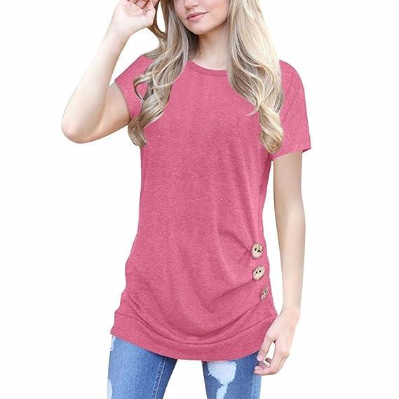 Blusa con Botones Flojos de Manga Corta Para Mujer Blusa con Cuello Redondo de Colores Sólidos Manga Larga con Capucha Camiseta Mezcla de Algodón Cuello EN ...
