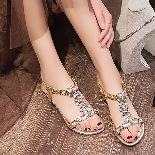 Sandals Women's Ethnic Gold Rhinestone Wind Silver Simple PU Shoes Feifei Material Gold Summer Optional r5wRrqn